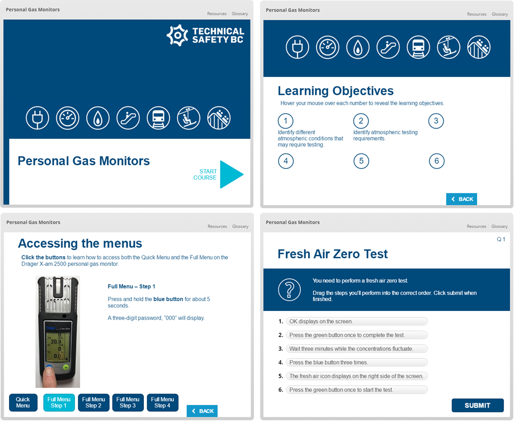 Personal gas monitor eLearning course
