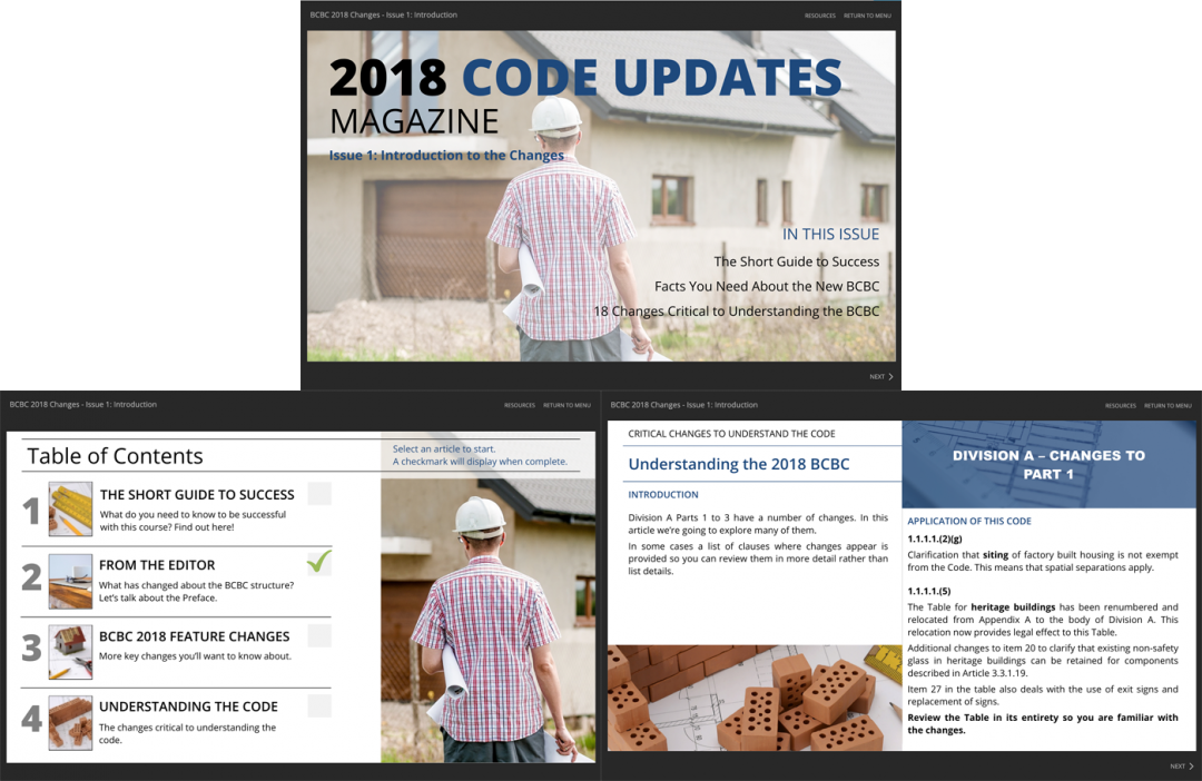 Code Change magazine for BOABC. engaging eLearning module