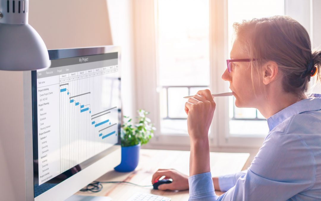 Woman looking at computer screen with Gantt chart; online course development