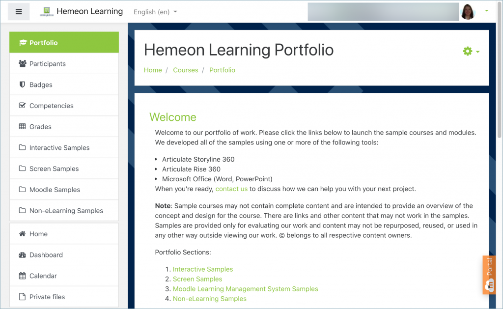 Screenshot of Hemeon Learning Moodle portfolio