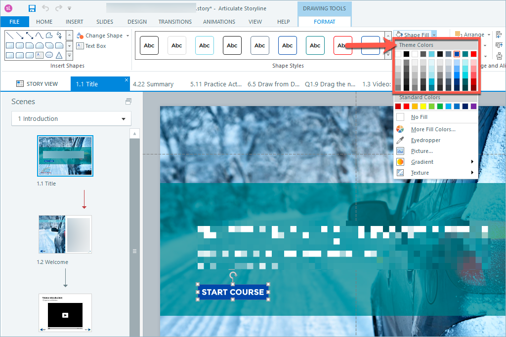 screen shot of Articulate Storyline theme color picker