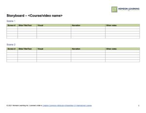 Screen capture of a storyboard document with tables for content.